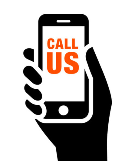"Vector of cell phone in hand saying ""call us"" - contact a limo service"