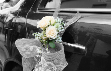 Limo with wedding decorations in Scottsdale
