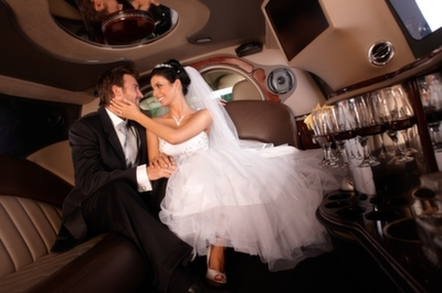 Newly wed couple in a limousine in Scottsdale