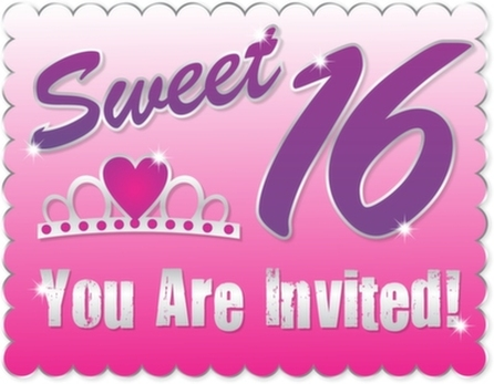 Invitation for a sweet sixteen party in Scottsdale